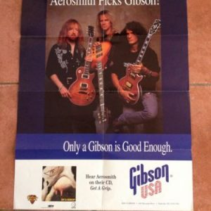Gibson USA Guitar Poster, 2 sided  - Aerosmith & les paul range From Early 90'S image